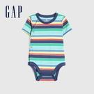 Gap嬰兒 純棉印花短袖連身衣 701042-多色條紋