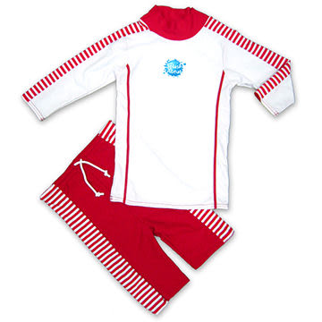 英國 Splash About 潑寶 UV Close Fit 兒童抗UV游泳套裝 - 紅白條紋