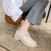 秋季新款單鞋女復古英倫學院小皮鞋文藝學生粗跟系帶低幫鞋子 瑪麗蘇