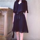 輕熟風洋裝 女生穿搭黑色雪紡連身裙大碼女夏裝收腰顯瘦氣質-Ballet朵朵