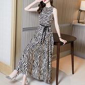 中大尺碼洋裝連身裙~繽紛波西米亞腳踝長裙性感無袖條紋拼接連身裙8530H405A莎菲娜