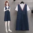 兩件套 休閒 連身裙 L-4XL 新款休閒背帶連衣裙女純棉短袖寬鬆兩件套裙 R26-3399.胖胖唯依