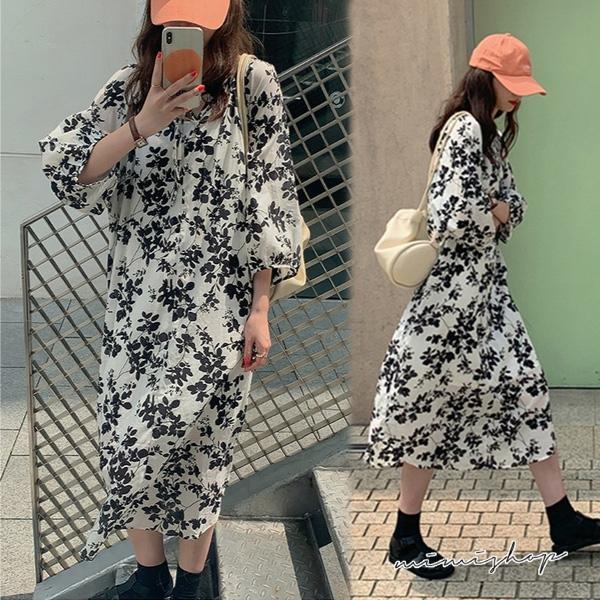 孕婦裝 MIMI別走【P521257】復古氣質 小V典雅碎花連身裙 孕婦洋裝