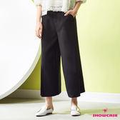 【SHOWCASE】顯瘦側開叉素色雪紡打褶寬褲(黑)