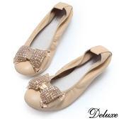 【Deluxe】全真皮水鑽蝴蝶金屬扣優雅平底包鞋(米)