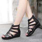 夏季新款羅馬魚嘴坡跟涼鞋厚底中跟中年鏤空媽媽鞋子真皮女鞋 古梵希