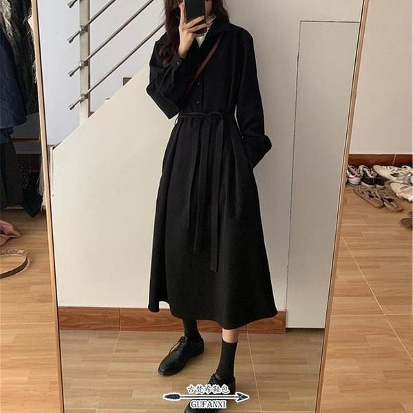 長袖洋裝 新款秋冬女裝收腰顯瘦赫本風黑色連衣裙子炸街氣質長袖打底 - 古梵希