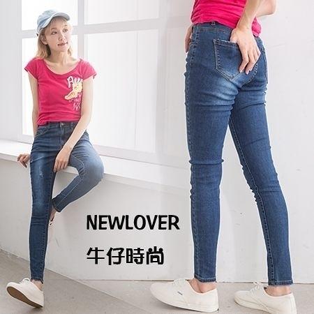 窄管褲NEWLOVER牛仔時尚【161-6125】平腰激瘦刷痕復古藍S-XL