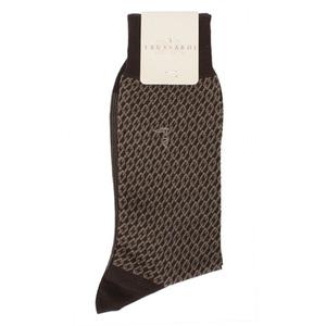 TRUSSARDI 棉質滿版鎖鍊織紋紳士襪(咖啡色)980165-2