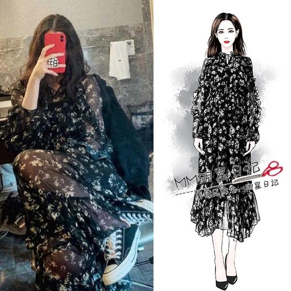 洋裝-歐陽娜娜同款黑色碎花雪紡洋裝超仙中長款2019流行裙子新款【快速出貨】