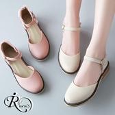 甜美後蕾絲花邊扣環設計低跟包鞋/4色/35-39碼 (RX0005-9538) iRurus 路絲時尚
