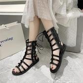 平底涼鞋羅馬女仙女風平底夏季百搭海邊度假網紅潮綁帶羅馬鞋 快速出貨