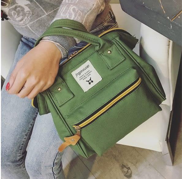 預購-韓版潮流撞色帆布三用背法後背斜背手提包