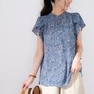 【慢。生活】荷葉袖印花垂墜女式襯衫-藍花 33664  FREE 藍花