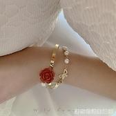 法式复古优雅玫瑰花朵珍珠手链ins小众设计巴洛克蝴蝶结手饰品女 居家物語