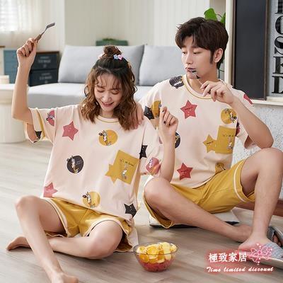 情侶睡衣 短袖短褲棉質睡衣兩件套裝男女士可愛睡裙大碼學生家居服