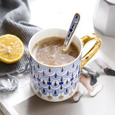 歐式陶瓷馬克杯骨瓷咖啡杯英國家用陶瓷杯大容量創意骨瓷杯子禮盒   初見居家