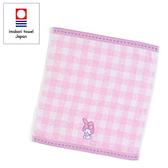 Sanrio 美樂蒂日本製今治純棉方巾(粉格紋)★funbox★_671151