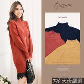 【天母嚴選】 純色小立領厚磅針織連身洋裝(共四色)