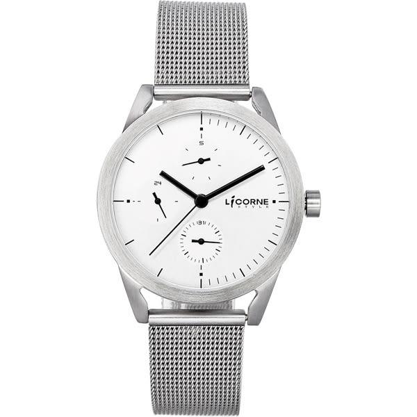 LICORNE    砌系列三眼腕錶-銀x白x小