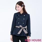RED HOUSE-蕾赫斯-雙排釦帥氣綁帶大衣(深藍色)