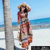 沙灘裙長裙超仙新款海邊度假印花波西米亞洋裝短袖碎花雪紡【全館免運】
