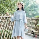 春秋漢元素改良式日常夏裝2020民族風洋裝文藝少女年輕款假兩件旗袍裙‧復古‧衣櫥