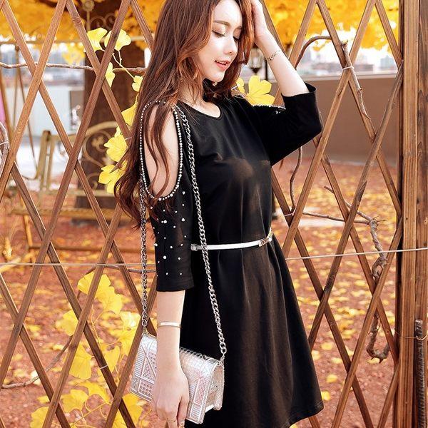 中大尺碼*圓領釘珠露肩性感針織蝙蝠袖寬鬆連衣裙洋裝(附腰帶)~美之札