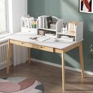 實木腳書架電腦桌100cm 書桌 電腦桌 辦公桌 工作桌 附書架電腦桌【Y10278】快樂生活網