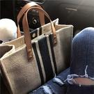 手提包側背包 韓版女士手提公文包職業通勤條紋單肩大包包大容量帆布包
