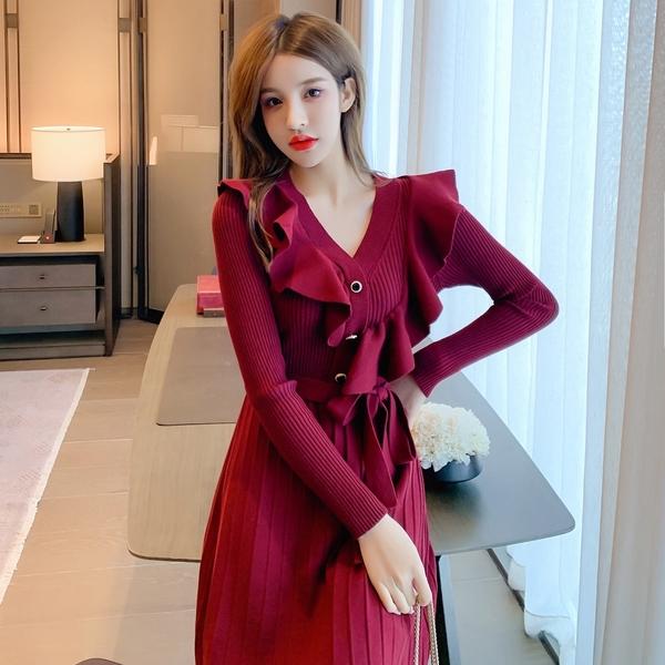 第二件4折 韓國風氣質荷葉邊收腰系帶V領針織長袖洋裝
