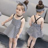 女童連身裙經典格子吊帶連身裙露背公主裙兒童短裙【奇趣小屋】