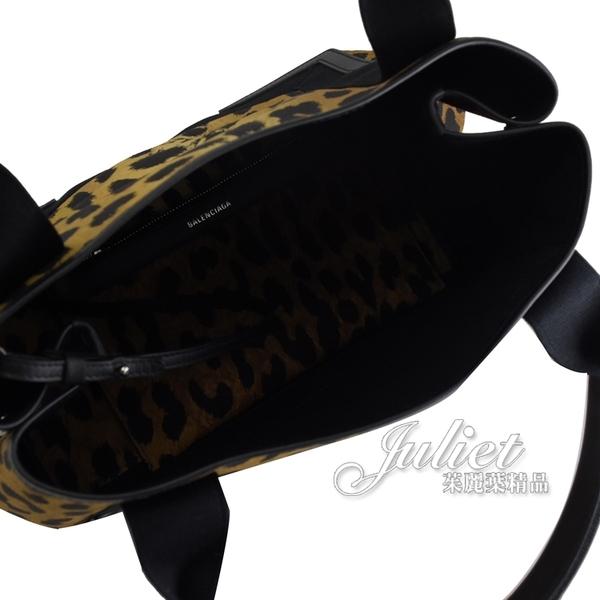 茱麗葉精品【全新現貨】BALENCIAGA 巴黎世家 339933 NAVY 豹紋帆布皮飾邊手提子母包 大款