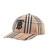 【BURBERRY】TB Logo Vintage 格紋棉質棒球帽(米色) M.L號 8027502