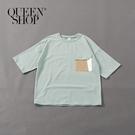 Queen Shop【01038225】親子系列 造型配色口袋上衣 兩色售1/2/3/4*現+預*