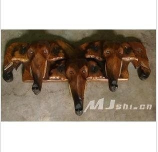 東南亞風格壁飾  進口柚木傢俱 三象頭壁掛鉤(交叉)