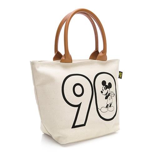 Disney 活力滿點 厚磅硬挺手提帆布包-米