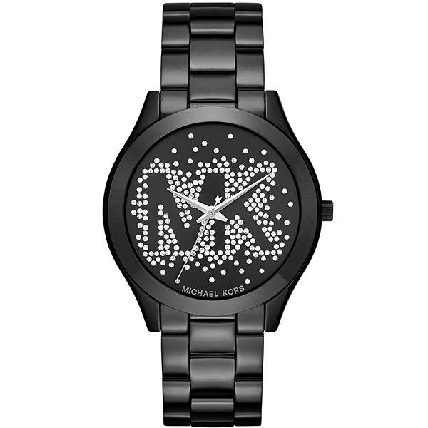 【台南 時代鐘錶 Michael Kors】MK3589 搶眼文字設計 晶鑽時尚腕錶 黑鋼 39mm 公司貨 開發票