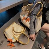 帆布側背大包包女新款潮韓版百搭大容量簡約時尚女手提洋氣包  宜室家居