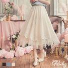 裙子 蕾絲花邊兩穿鬆緊紗裙長裙-Ruby s 露比午茶