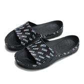 PONY 全黑 滿版LOGO 拖鞋 防水 膠拖 拖鞋 男女 (布魯克林) 02U1FL01BK