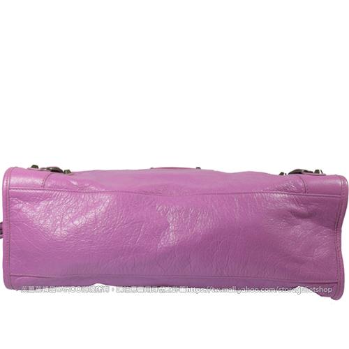 茱麗葉精品 二手名牌【9.5成新】BALENCIAGA 巴黎世家 115748 THE CITY 經典小羊皮兩用機車包.粉紫