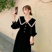 洋装 赫本風娃娃領小黑裙大翻領收腰黑色連身裙H325 韓依紡