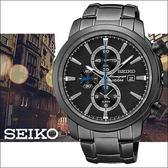 【僾瑪精品】SEIKO 黑色冰風暴 二地時區鬧鈴計時腕錶-黑/7T62-0LG0SD(SNAF49P1)