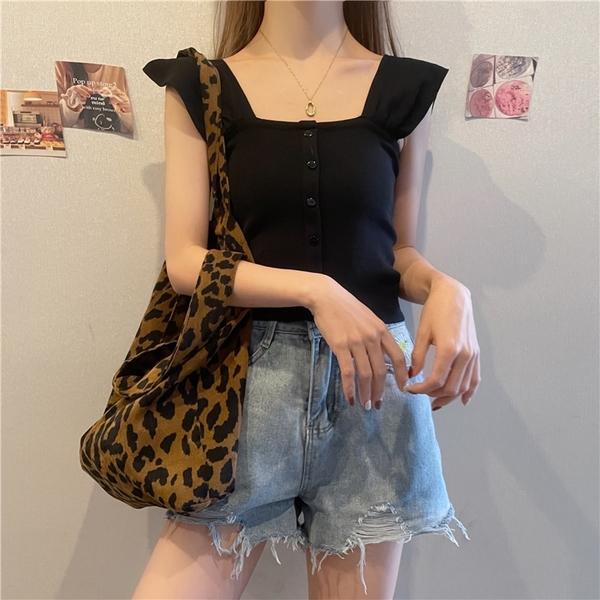 EASON SHOP(GQ0546)韓版甜美風純色短版露肚臍排釦露鎖骨方領荷葉邊短袖針織衫T恤女上衣服打底顯內搭