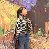 正韓學院風條紋高領百搭打底衫T恤女裝寬鬆長袖套頭上衣學生秋裝熱賣夯款