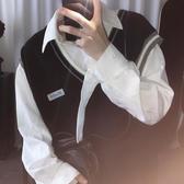 馬甲男 短句先生自制入秋推薦針織馬甲男搭配有感覺的V領無袖毛衣背心 CY潮流