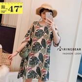 洋裝--浪漫甜美圓領挖肩荷葉袖草本印花連身裙(綠M-3L)-D577眼圈熊中大尺碼◎