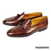 【MAGNANNI】流蘇樂福紳士皮鞋 咖啡(15763-BR)