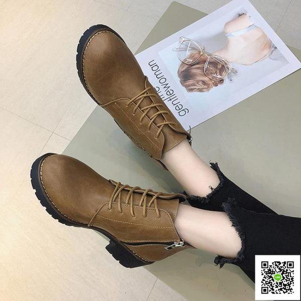 馬丁靴女英倫風學生韓版百搭春秋季新款單靴中跟粗跟網紅短靴 一件免運